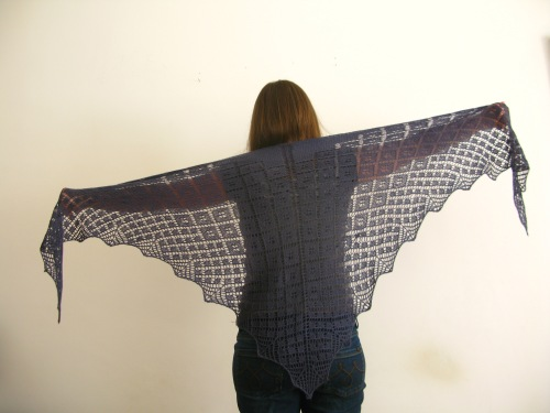 Asphodel Shawl lace knitting pattern by Littletheorem. Geometric lace design.