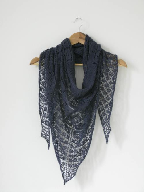 Asphodel Shawl Pattern by Littletheorem.  lace shawl, geometric design.